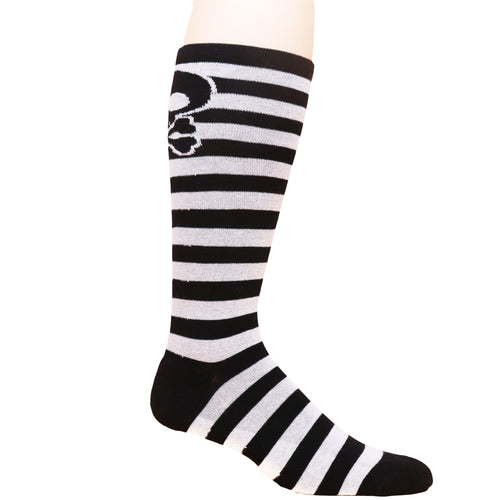 Skull Stripes Knee Black/White - Moxy Deadlift Socks