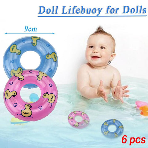 6 PCS Children's Bath Small Swimming Toy Doll Lifebuoy
