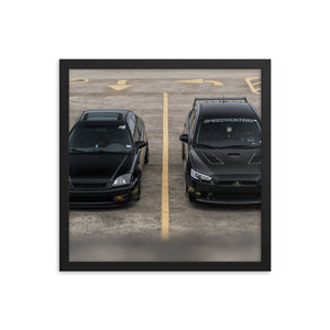 Battle of Black Cars Framed Poster