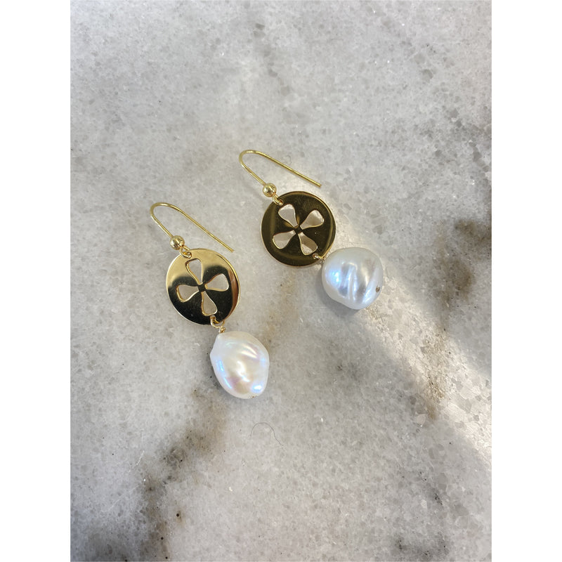 Baroque Pearl Signature Earrings - Gold