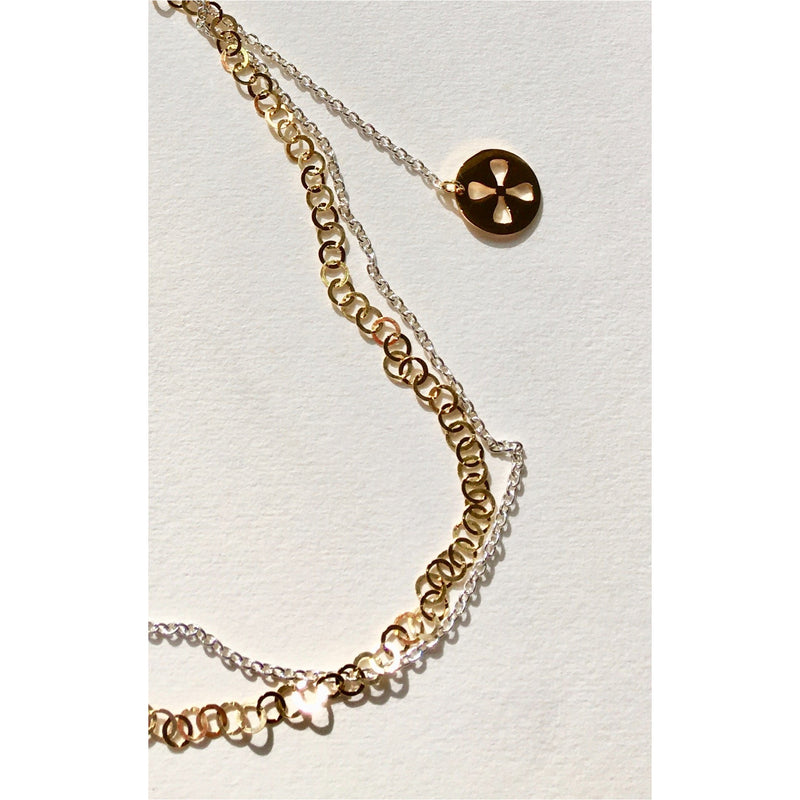Silver and Gold Graduated Charm Symbol Necklace