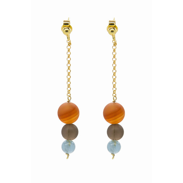 Graduated Drop Earring - Brazil Carnelian, Smokey Quartz and Aquamarine