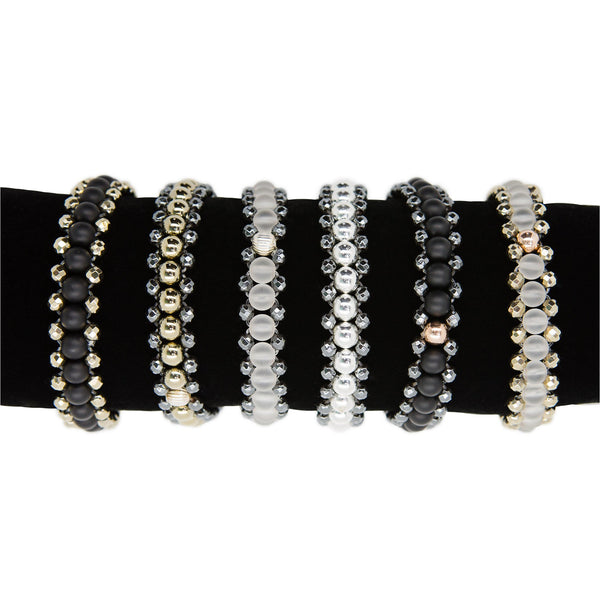 Semi precious stone mini cuffs bracelets, elasticated to slip easily over the hand and sit neatly on the wrist.