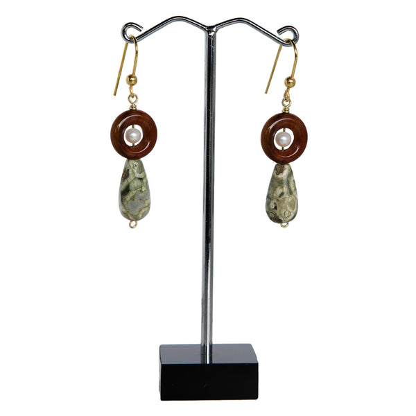 Rainforest Jasper Pearl Teardrop Earrings