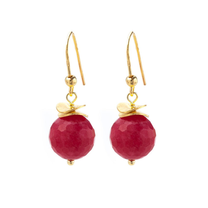 Red Chalcedony Gold Wave Earrings