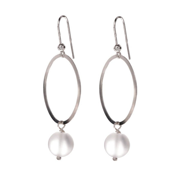Hula Hoop Earrings - Silver and Frosted Quartz
