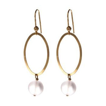 Hula Hoop Earrings - Gold and Frosted Quartz