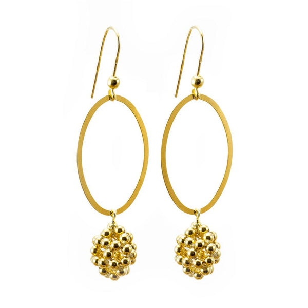 Gold Fine Lace Oval Earrings