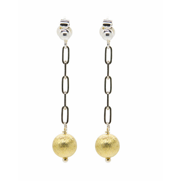 Mixed Metal Gold and Silver Drop Earrings