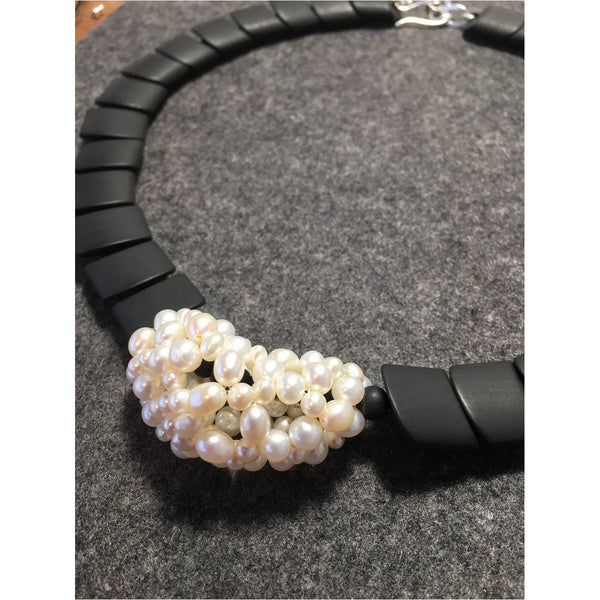 Pearl Matte Onyx Necklace