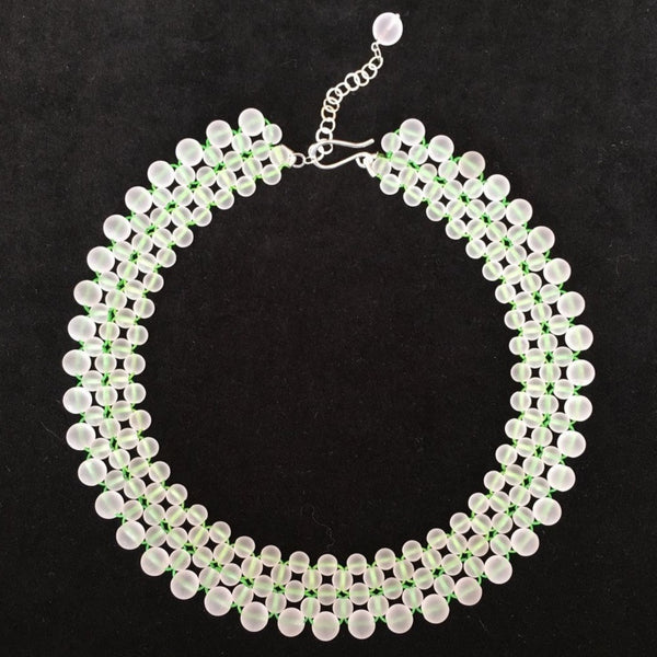 Matt Quartz and Green Thread Necklace Joanna Salmond Jewellery