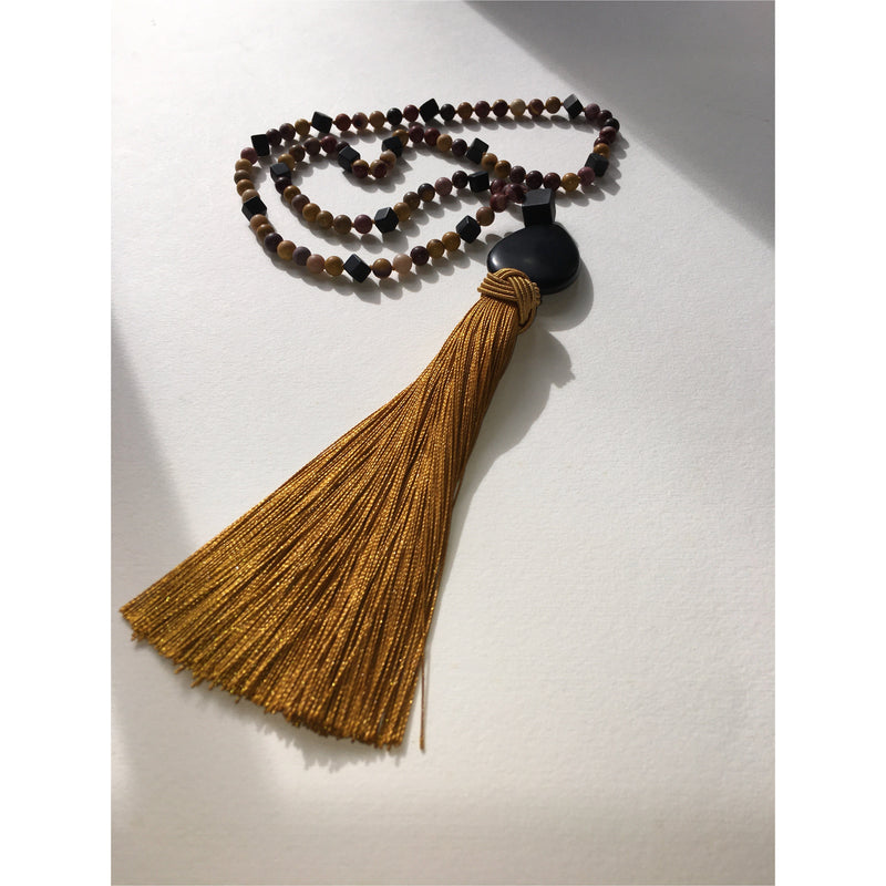 Mookaite and Onyx Tassel Necklace