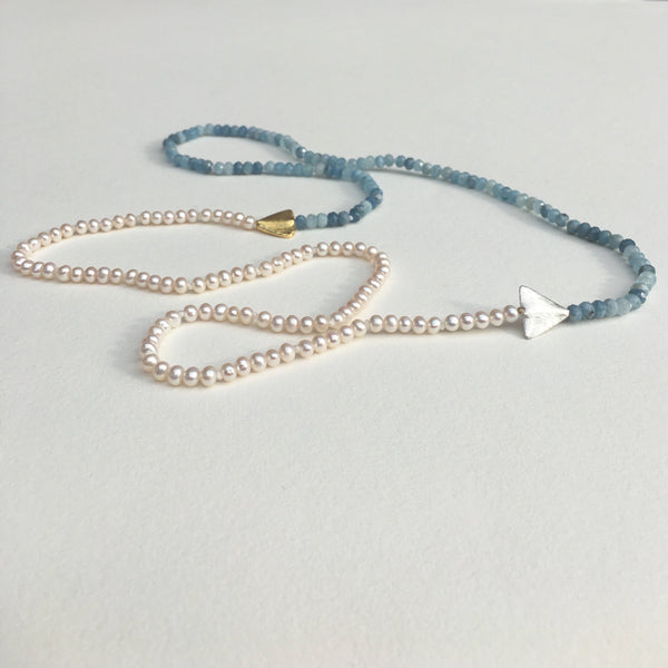Aquamarine and Pearl Arrow Necklace