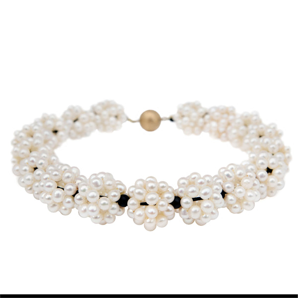 Freshwater Pearl and matt onyx lace ball statement choker necklace.