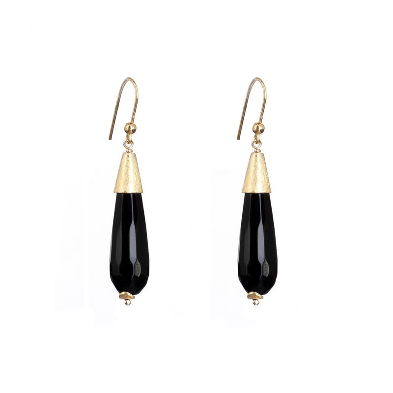 Gold and Onyx Facetted Teardrop Earrings