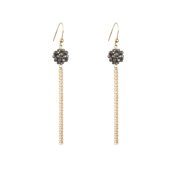 Pyrite and Gold Fringe Earrings