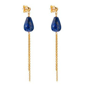 Lapis and Gold Chain Earrings