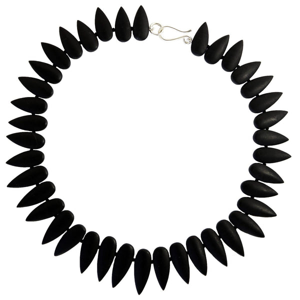 Black Onyx Graduated Point Statement Necklace with Sterling Silver Clasp