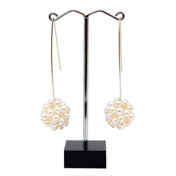 Pearl Lace Long Statement Earrings