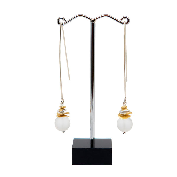 Quartz Silver and Gold Long Wave Earrings