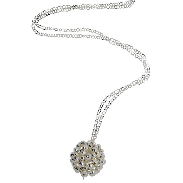 Flower Ball Pendant - Silver