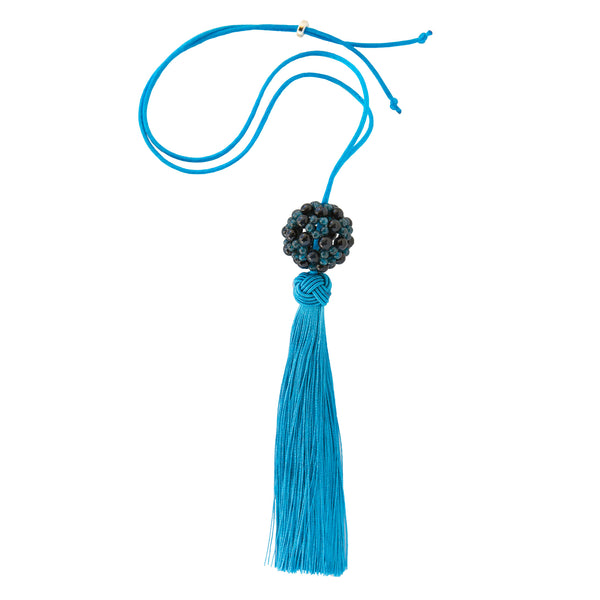 FLOWER BALL TASSEL - APATITE AND BLUE TIGERS EYE
