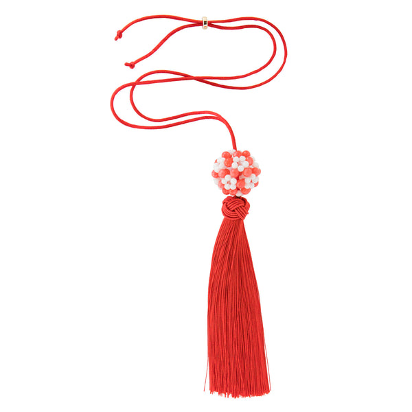 Flower Ball Tassel - Agate and Coral
