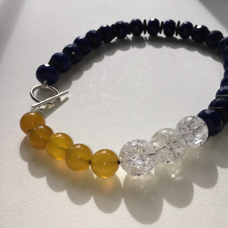 Crazed Quartz and Blue and Yellow Agate Necklace