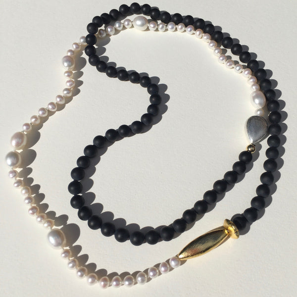 Freshwater Pearl and Onyx Necklace