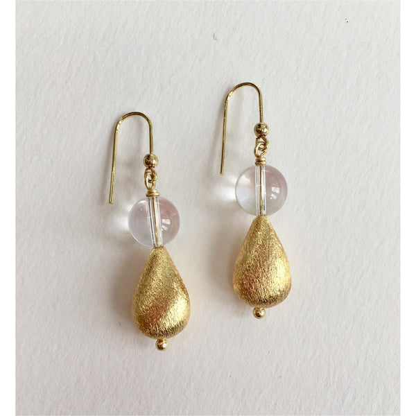 Quartz and Gold Teardrop Earrings