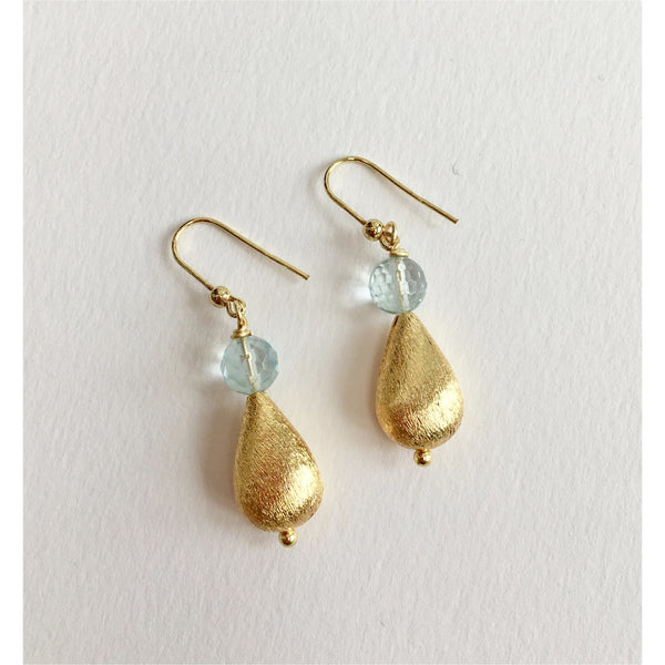 Aquamarine and Gold Teardrop Earrings