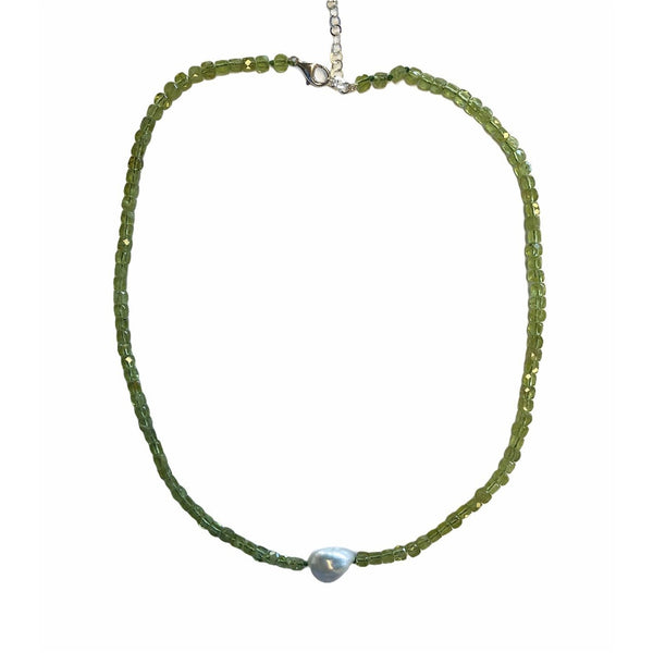 Peridot Pearl Choker Necklace