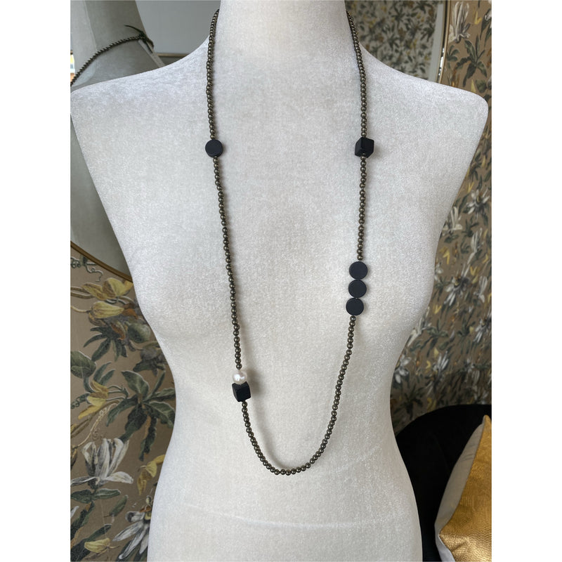 Pyrite, Onyx and Freshwater Pearl Necklace