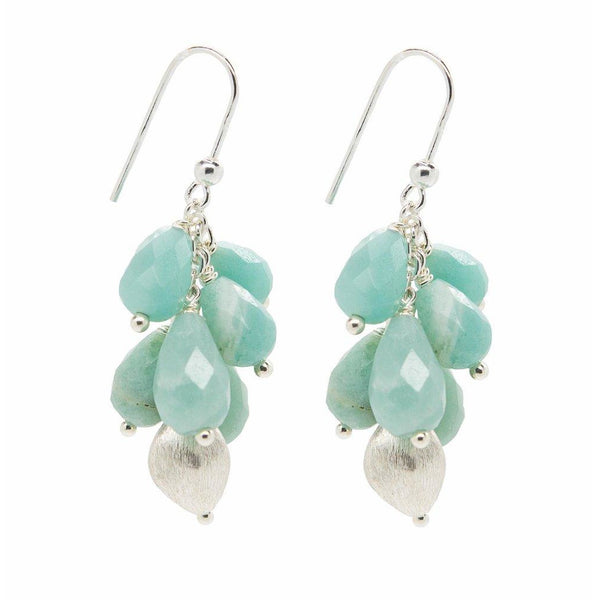 Amazonite Tear Drop Charm Silver Earrings