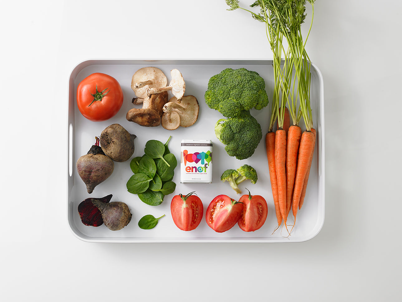 enof and veggies on white tray