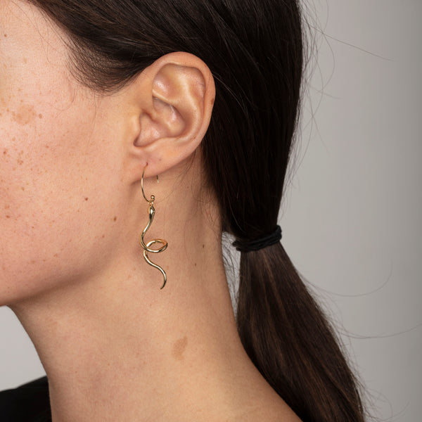 Sigyn Gold Snake Earrings