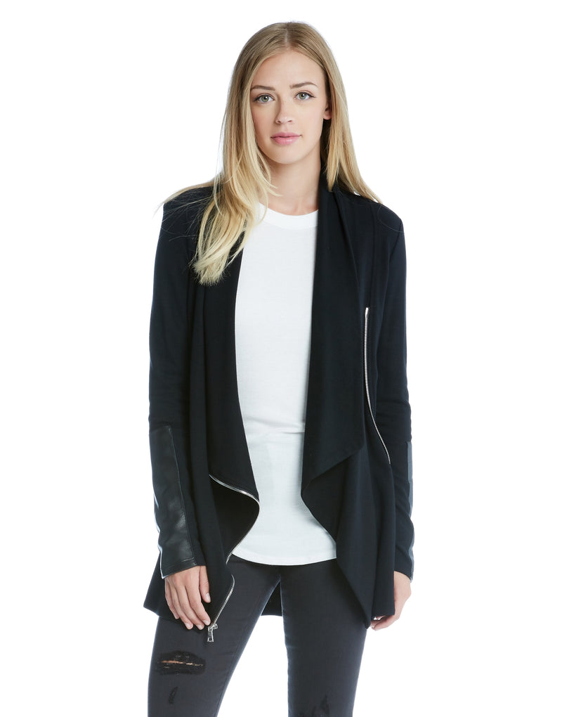 Drape Leather Patch Jacket