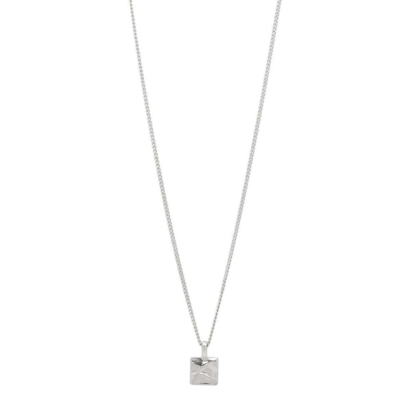 Square Pendant Silver Necklace