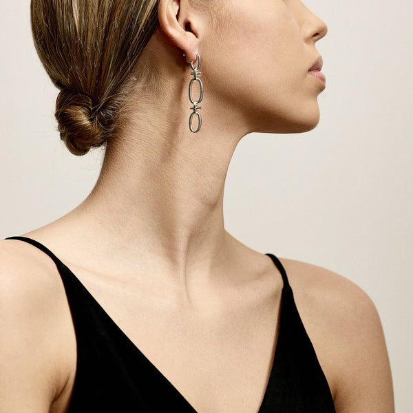 Wisdom Silver Chain Link Earrings