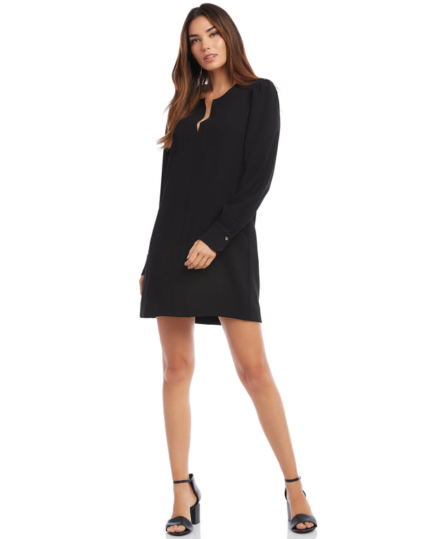 Split Neck Shift Dress
