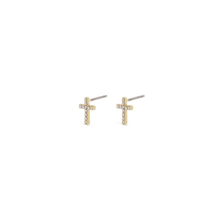 Clara Cross Gold Plated Earrings