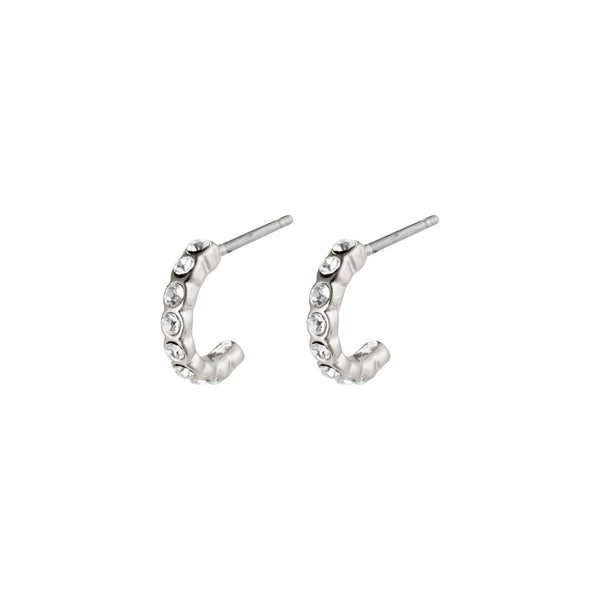 Silver Brigitte Mini Crystal Hoops