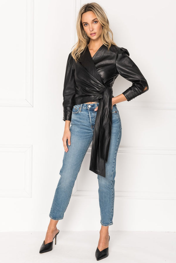 Levora Leather Wrap Blouse