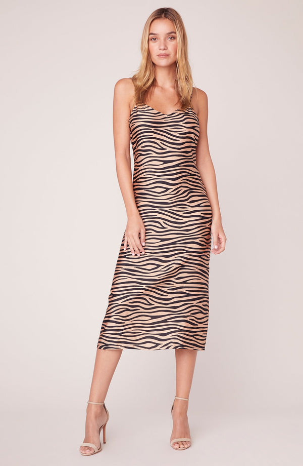 Slip Service Zebra Printed Slip Dress