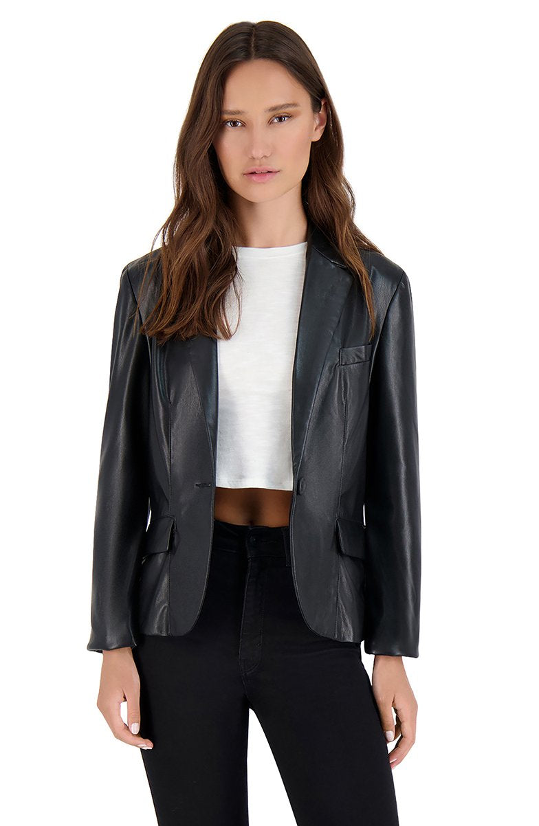 Serious or Not Vegan Leather Blazer