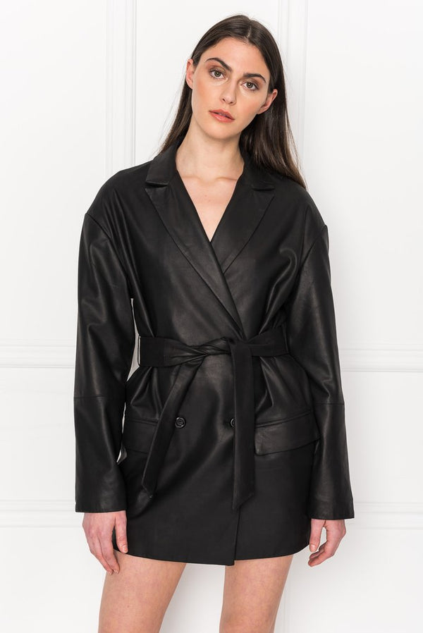 Kaelyn Leather Trench Dress