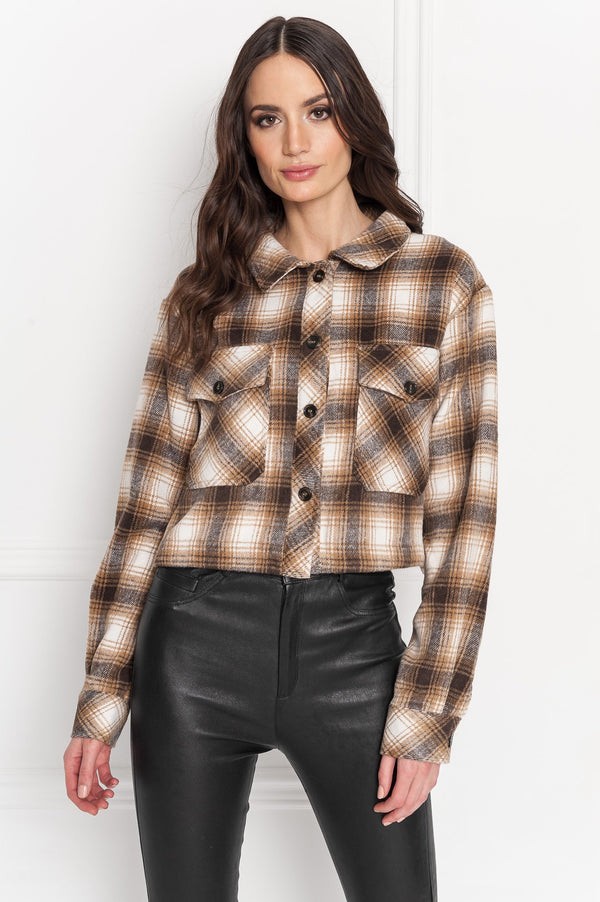 Monique Cropped Plaid Shirt Jacket
