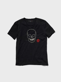 Embroidered Skull & Rose Tee