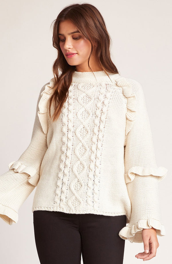 Power Cable Ruffle Sweater