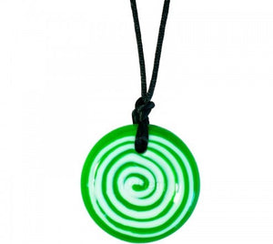 Chewigem Green and White Swirl Button Necklace